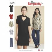 8425 Simplicity Pattern:Misses & Petite Choker Collar Dress, Tunic and Top with Trousers